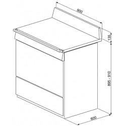 "Cucina ""Victoria"" 90x60 cm, acciaio inox,tri90x1"