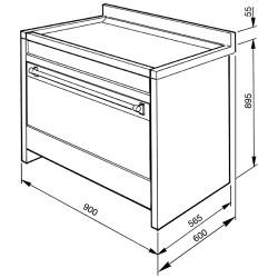 Cucina da arredamento, antracite/acciaio inox, 90x60 cm.  CS18A-7