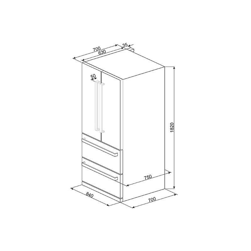 smeg fq55fx Französisch Tür Kühlschrank mit 2 Türen und 2 Schubladen