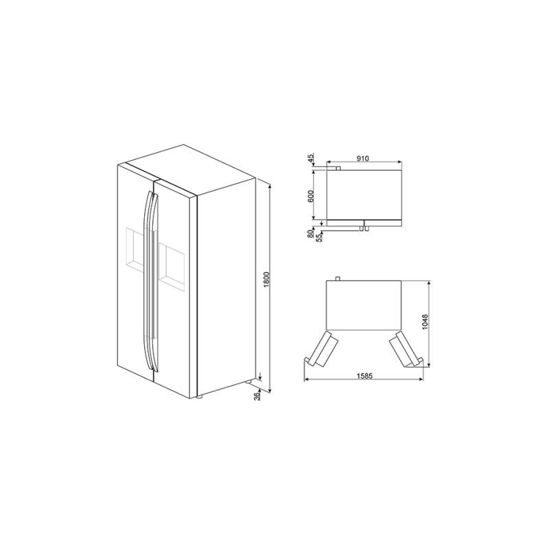 smeg sbs63ned frigorifero side by side. Black Bedroom Furniture Sets. Home Design Ideas