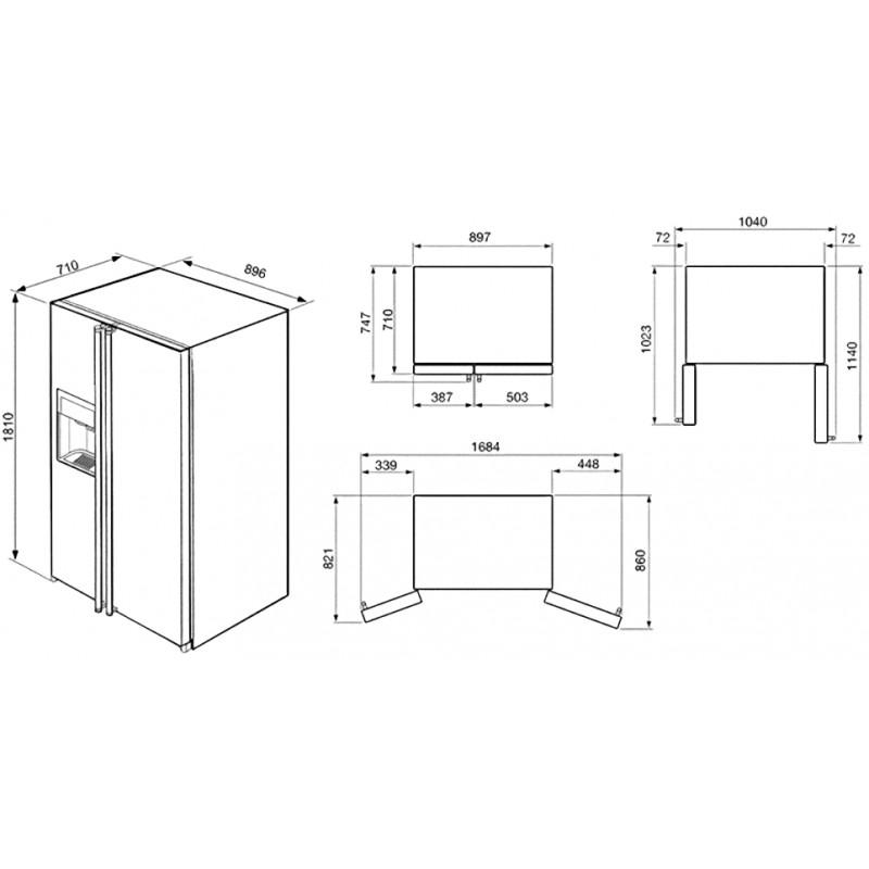 smeg sbs8004ao frigorifero antracite side by side. Black Bedroom Furniture Sets. Home Design Ideas