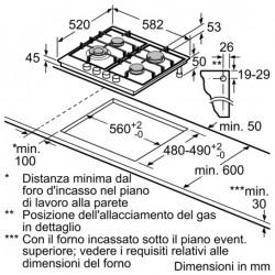 siemens EC645HB80E Piano a gas in acciaio 60cm. - wok acciaio inox