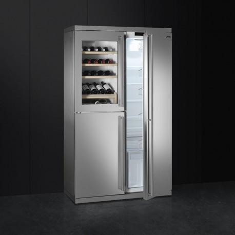smeg wf354lx Libera installazione Combinazione Wine Cooler e congelatore con acciaio inossidabile e vetro