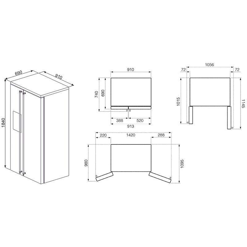 smeg fa63x Frigorifero Side-by-Side 91 cm, estetica Classica, acciaio inox
