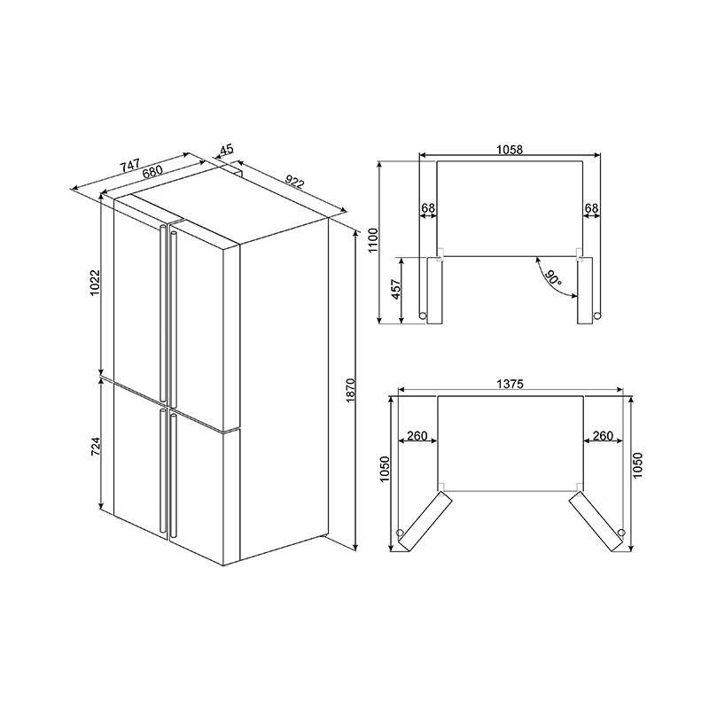 Smeg Fq960pb Victoria Four Door Refrigerator Freezer