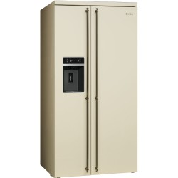 smeg sbs8004po Side by Side Refrigerator, 91 cm cream