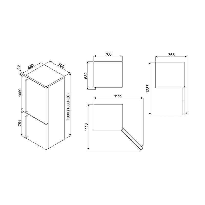 smeg fa8003aos r frig rateur combin colonial 70 cm. Black Bedroom Furniture Sets. Home Design Ideas