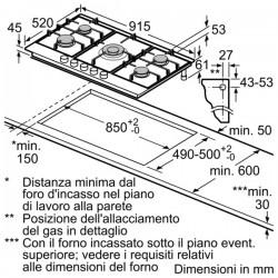 neff T29DA69N0 90 cm, Piano cottura a gas, acciaio inox