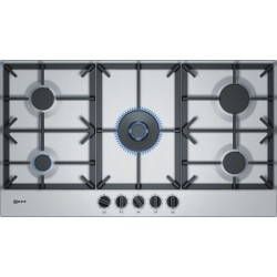 neff T29DS69N0 90 cm, Gas hob with integrated controls, Stainless steel