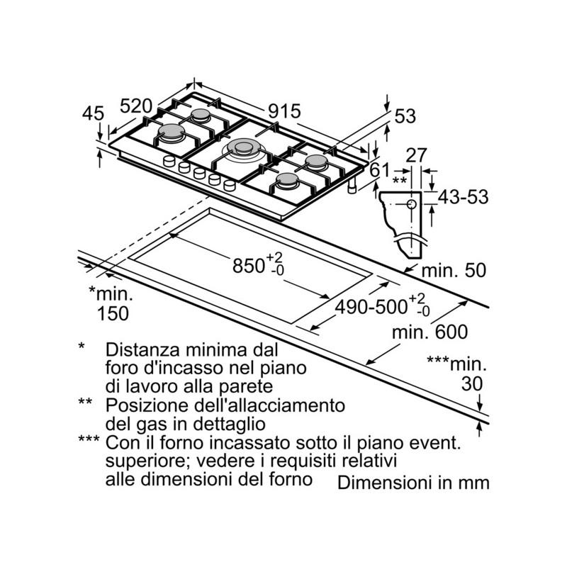 Neff t29ds69n0 90 cm piano cottura a gas acciaio inox for Dimensioni piano cottura