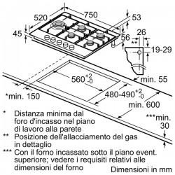 neff T27DA79N0 75 cm, Piano cottura a gas, acciaio inox
