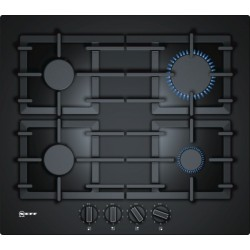 neff T26CS49S0 60 cm, Gas hob with integrated controls, Hard Glass, Black