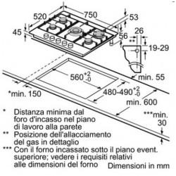 bosch Piano cottura 70cm. inox- griglie smalt. PCQ715B80E