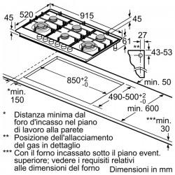 siemens EC945TB91E Piano gas 6 fuochi 90cm griglie in ghisa acciaio inox
