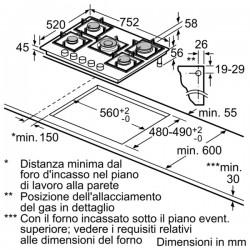 bosch PPQ816B21E PIANO INC 75CM CRISTALLO GAS,