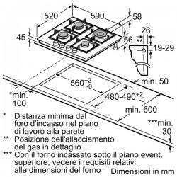 bosch pph6a6b20 Piano gas cristallo nero 60cm
