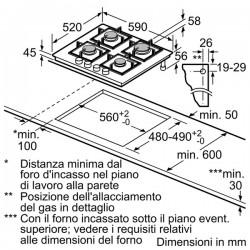 bosch ppp6a6b10 Piano gas cristallo nero 60cm,