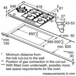 neff Piano a gas in vetroceramica, 90 cm griglie in ghisa T69S86N0
