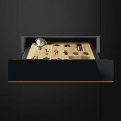smeg ctps613nr Sommelier de tiroir, Eclipse verre noir avec cuivre Garniture