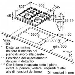 bosch prp6a6n70  PIANO INC 60CM VETROCERAMICA GAS ,
