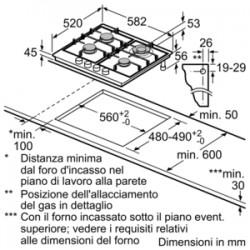 siemens EG6B5HB60 Piano a gas in acciaio 60cm. acciaio inox