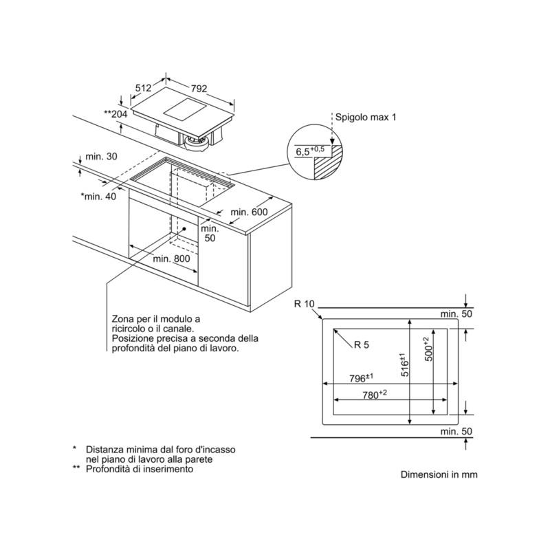 Neff T58ps6bx0 Piano Cottura Ventilazione Integrata Induzione