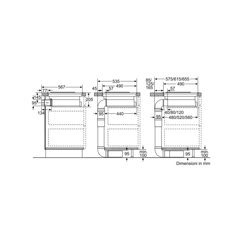 Neff t58ps6bx0 piano cottura induzione con cappa integrata for Piano cottura con cappa integrata