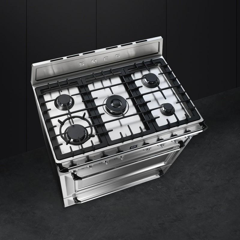 Smeg tr90x9 cuisine victoria en acier inoxydable for Cuisine en acier inoxydable