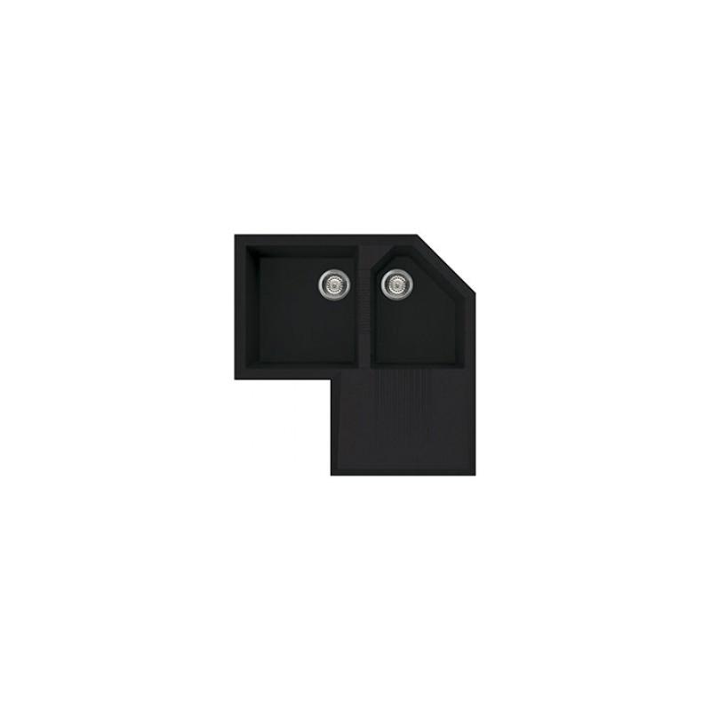 smeg lz830n Lavello sintetico da incasso, nero, angolare. Serie Rigae