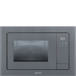 smeg fmi120s2 microwave oven, silver glass. aesthetic line