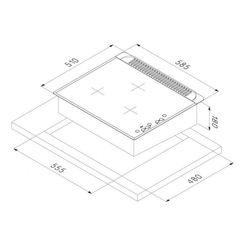 smalvic PVC-60 3G TC NERO piano cottura 60 cm
