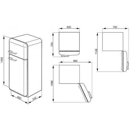 smeg FAB30RV1 Double door Refrigerator-Freezer, Pastel green,