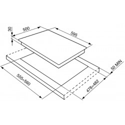 Piano di cottura, 60 cm, inox.  SV564-3