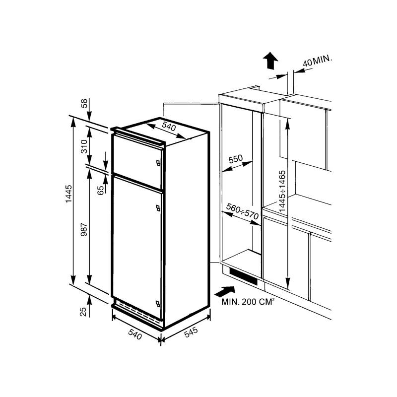 Frigorifero doppia porta 214 l classe energetica a smeg for Dimensioni frigorifero