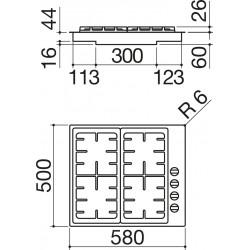 1pof60 Barazza Piano Cottura a Gas Filotop/Incasso
