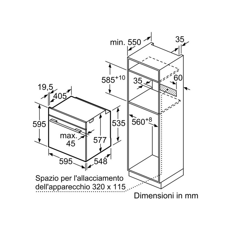 Bosch forno da incasso hbn311e2j - Forno da incasso dimensioni ...