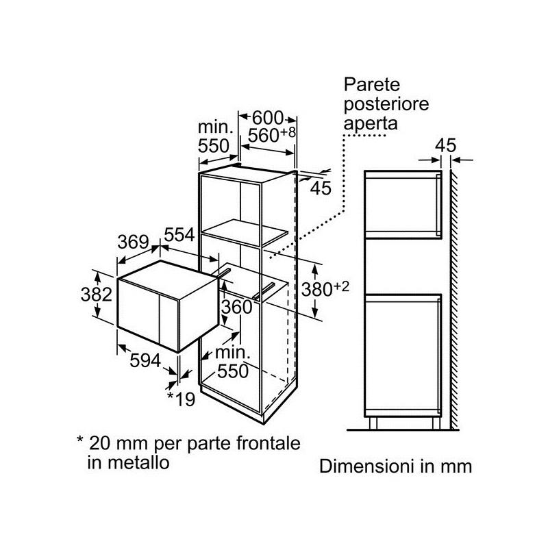 Bosch hmt84m624 microonde da incasso pensile da 38 cm - Misure forno da incasso ...