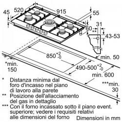 bosch  PCR915M91E Piano gas 90cm inox - griglia in ghisa acciaio inox